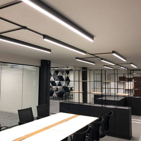 black surfaced linear lighting system
