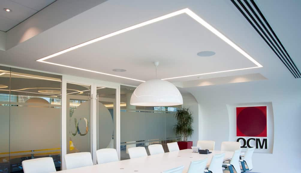M-Line LED Linear lighting installed in ceiling - square formation.