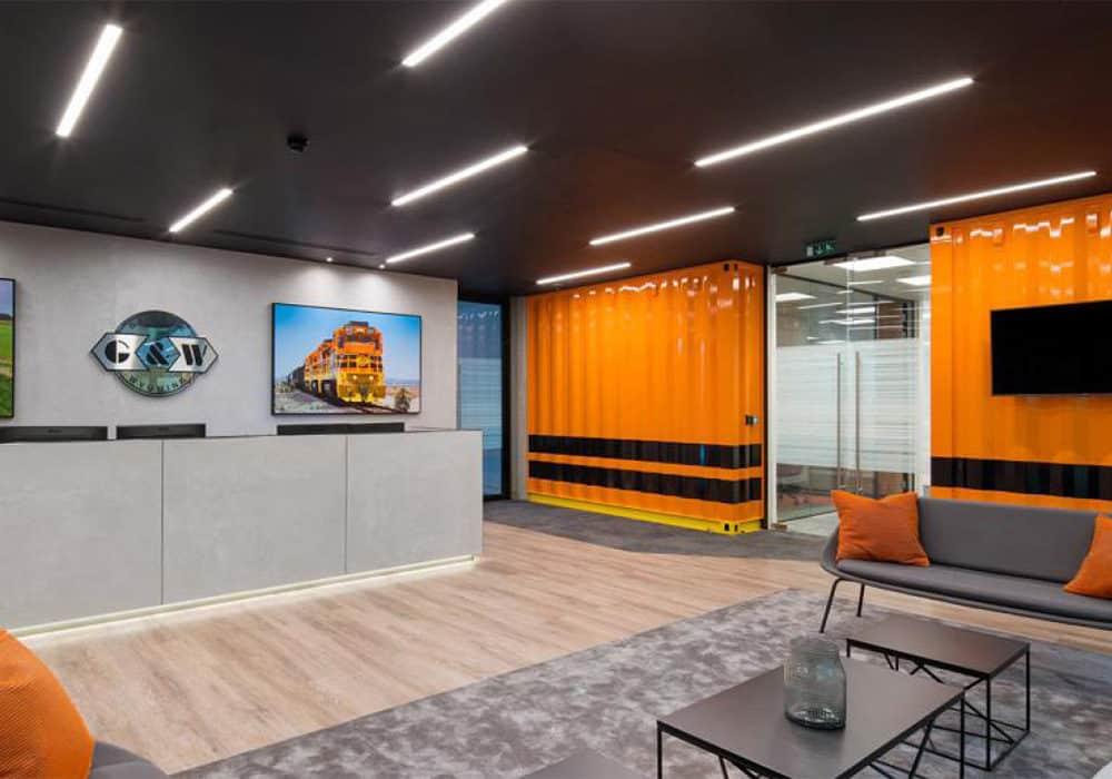 recessed lighting orange walls