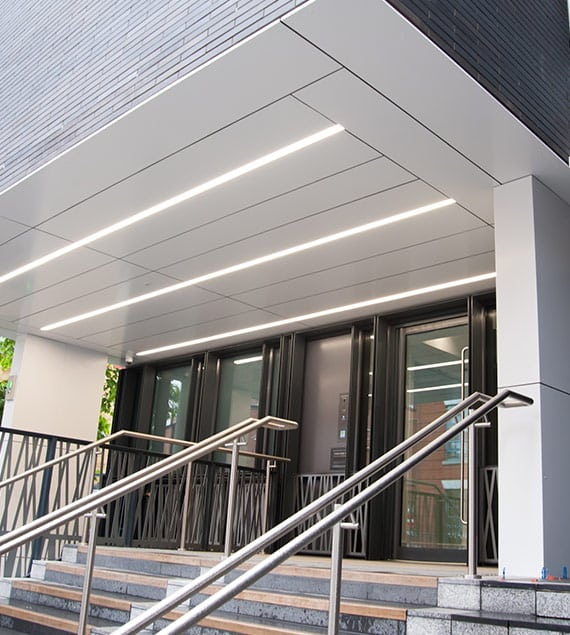 recessed linear lighting at Hollybrook House London