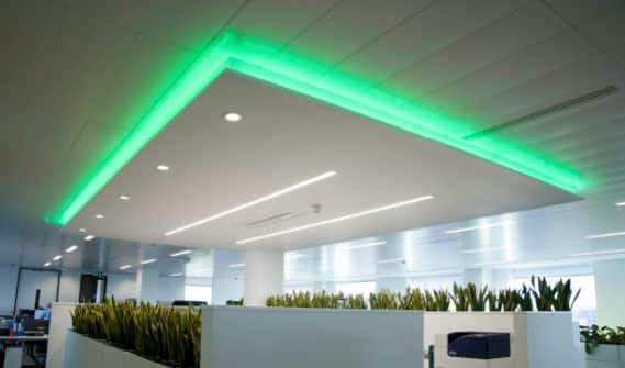 Green m-line linear lighting installed in ceiling