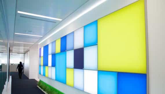 innovative colourful lighting wall