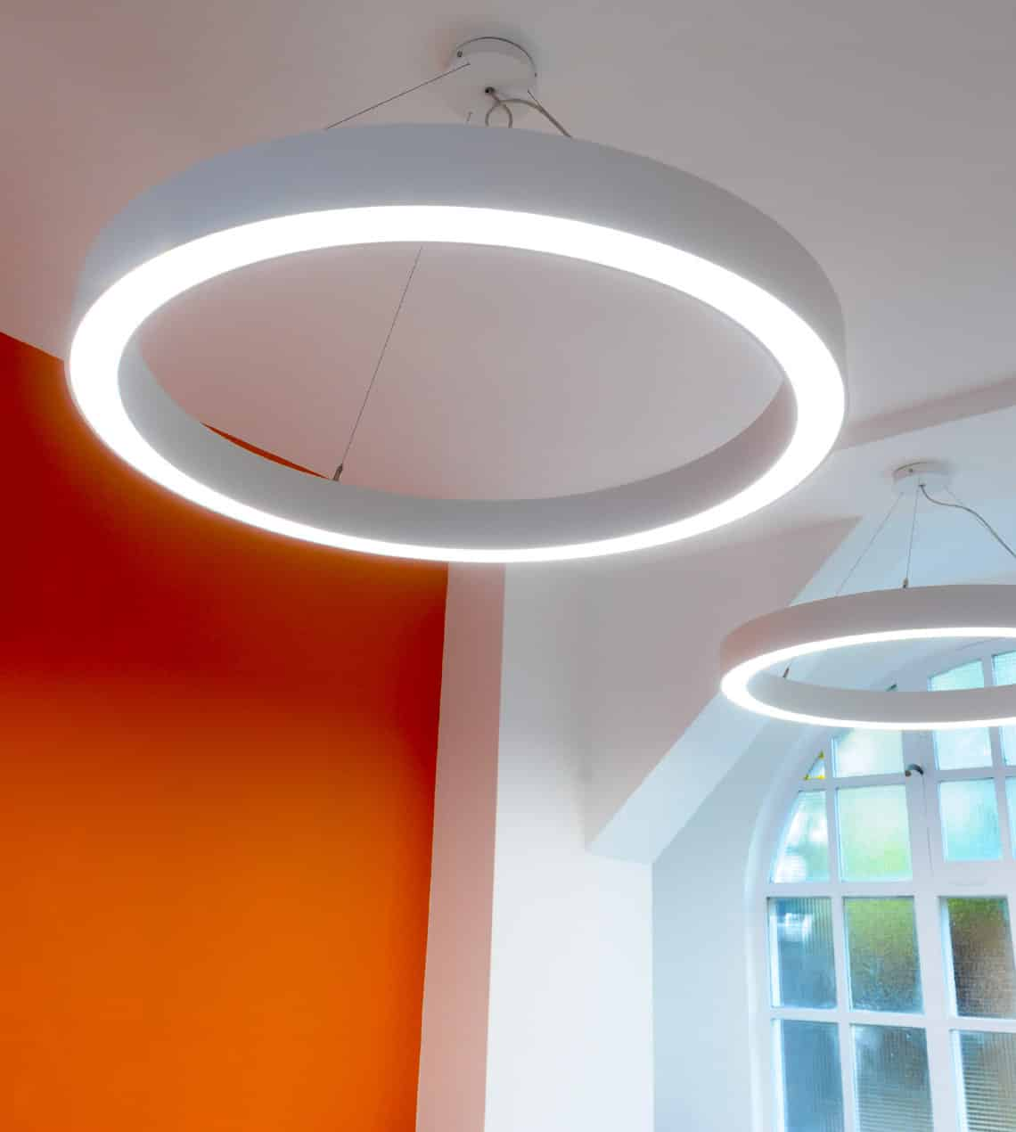 commercial suspended halo lighting design