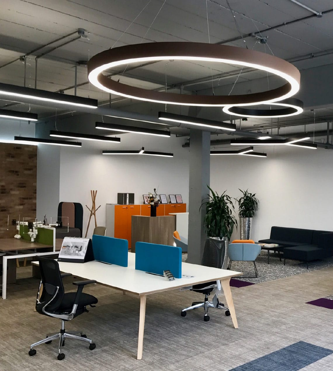 circular bespoke suspended lighting for offices