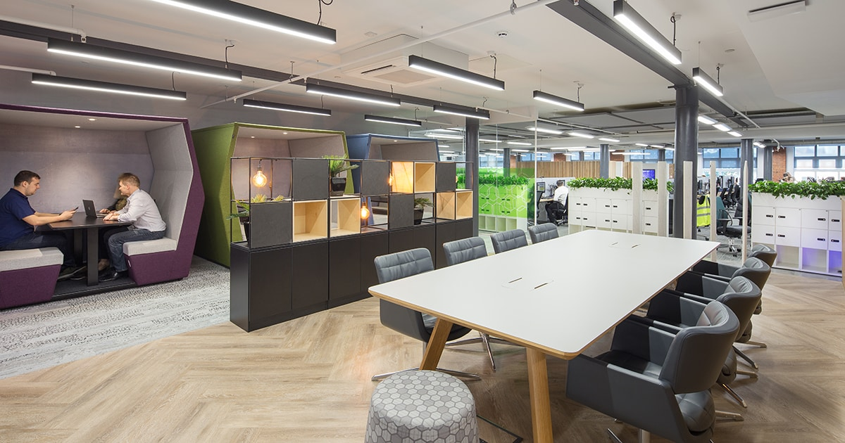 Linear lighting in an office workspace provided by Mount Lighting
