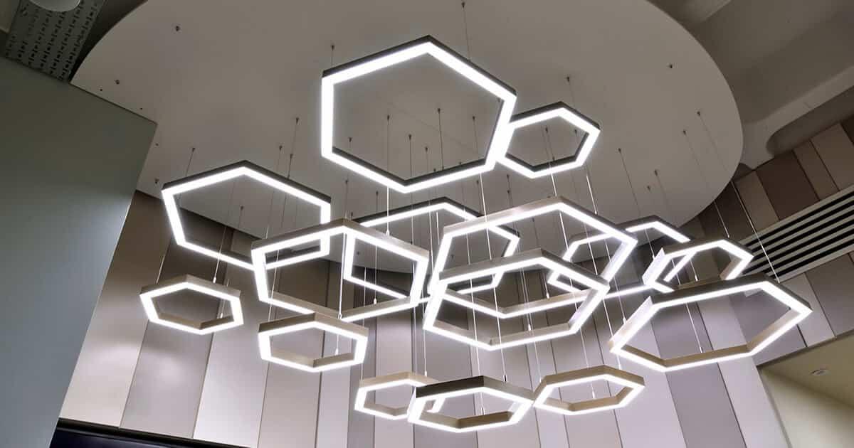 hexagonal lighting hanging from ceiling