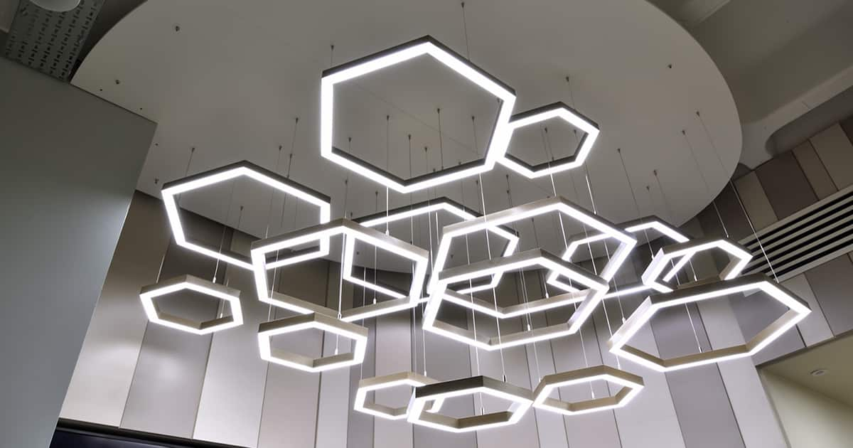 hexagonal lighting hanging from ceiling